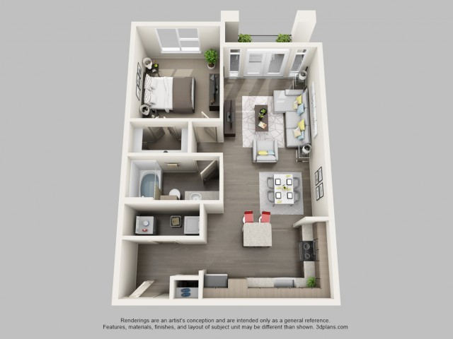 1 Bedroom Floor Plan | Boardwalk Research