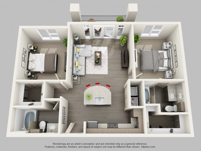2 Bedroom Floor Plan | Boardwalk Research