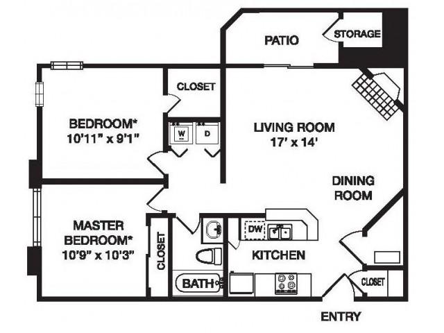 2 Bedroom Floor Plan | Waterfield Court