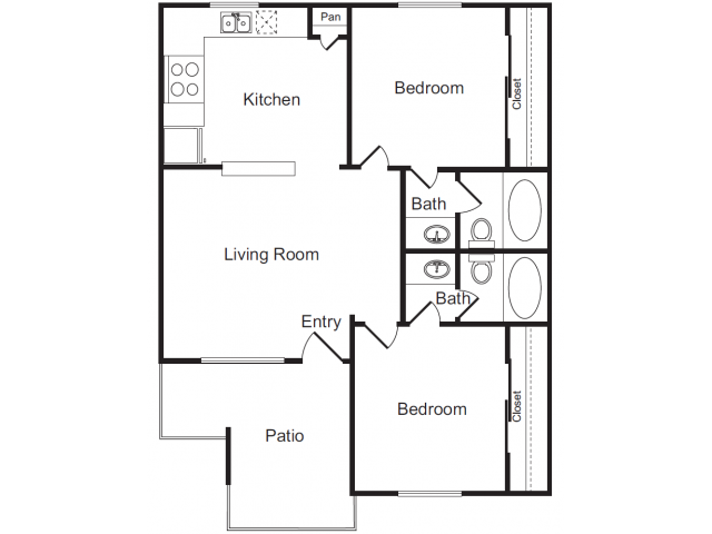 Two Bedroom Floorplan | Flagstone