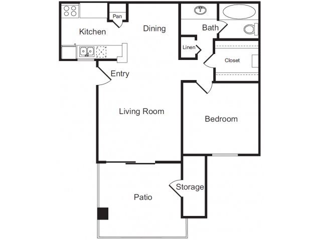 One Bedroom Floorplan | Flagstone