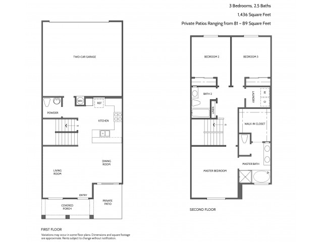 Three Bedroom Floorplan | Townhomes at Lost Canyon 1