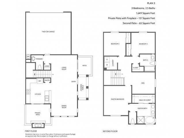 Three Bedroom Floorplan | Townhomes at Lost Canyon 2