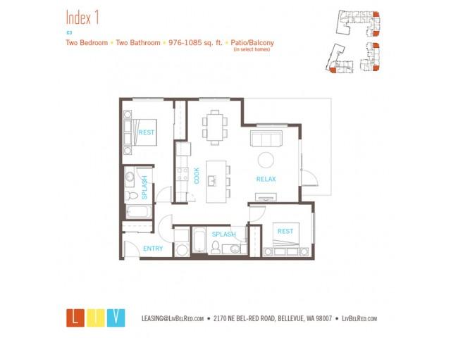 Floor Plan 37 | Bellevue Apartments | LIV
