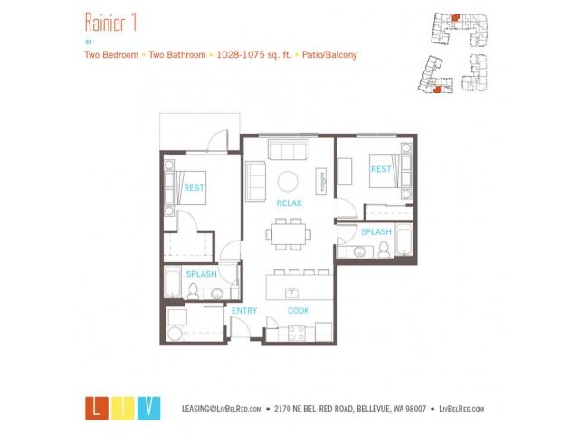 Floor Plan 40 | Bellevue Washington Apartments | LIV