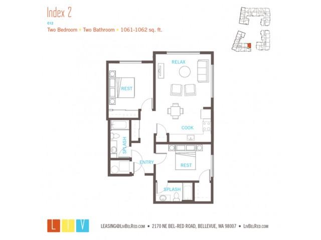 Floor Plan 43 | Bellevue WA Apartments | LIV