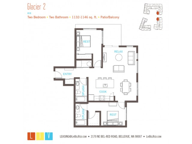 Floor Plan 45 | Bellevue Washington Apartments | LIV