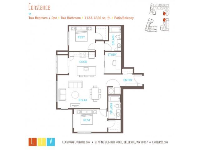 Floor Plan 46 | Apartments For Rent In Bellevue Washington | LIV