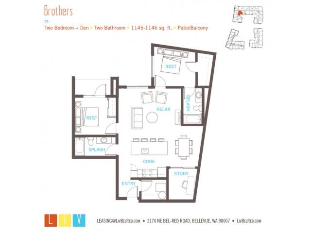 Floor Plan 48 | Bellevue WA Apartments | LIV