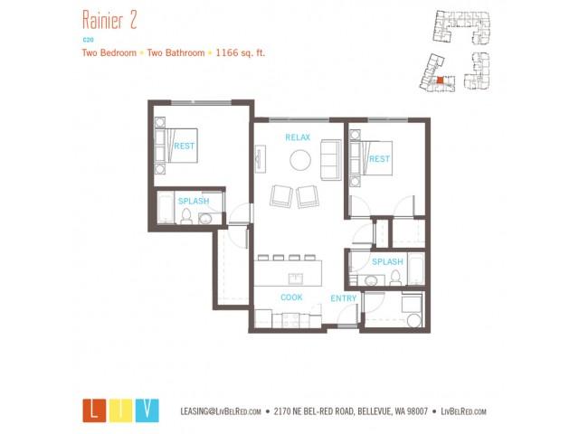 Floor Plan 52 | Bellevue WA Apartments | LIV