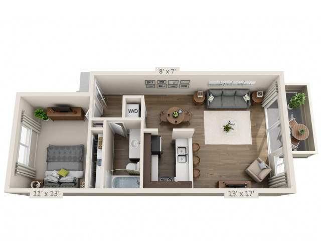 Floor Plan 1 | 3 Bedroom Apartments San Jose | Sagemark