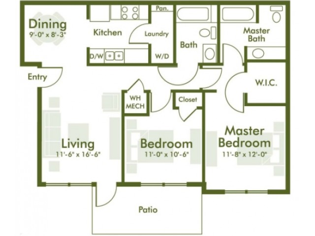 Floor Plan 1 | Kyle TX Apartments | The Strand