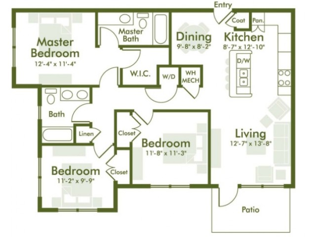 Floor Plan 2 | Kyle TX Apartments | The Strand