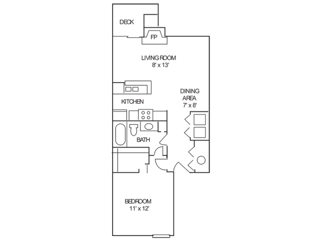 1 Bedroom Floor Plan | Apartments Indianapolis | Island Club