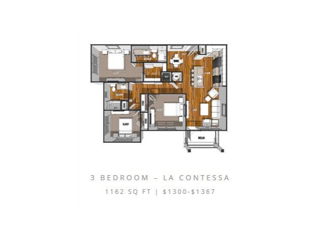 3 Bedroom Floor Plan | Laredo Apartments | La Contessa