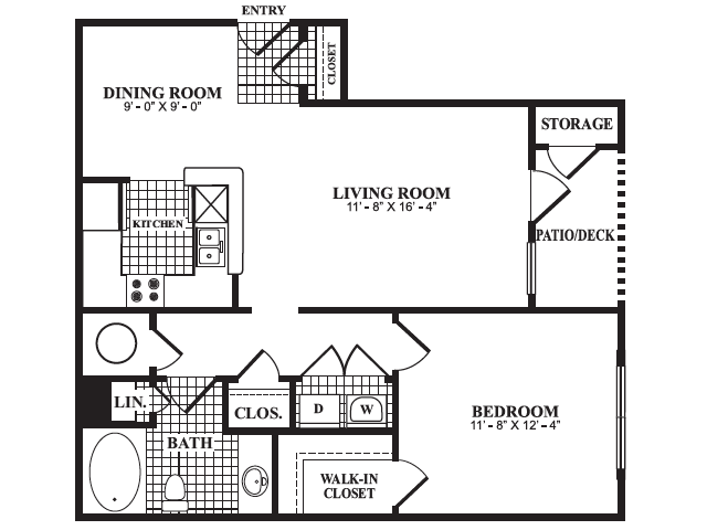 Floor Plan 2 | One Bedroom Apartments In Marietta GA | Bellingham Apartments