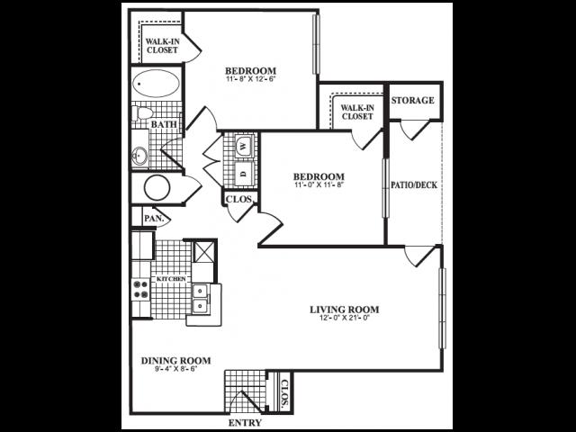 Floor Plan 3 | Apartment For Rent Marietta GA | Bellingham Apartments