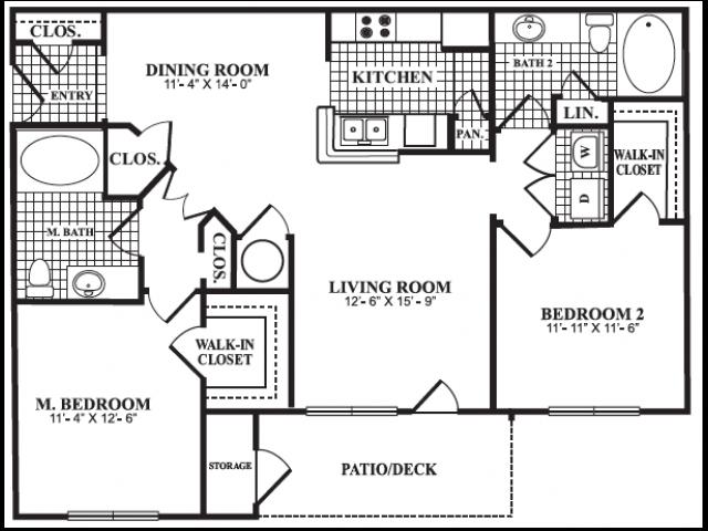 Floor Plan 5 | Apartments In Marietta Georgia | Bellingham Apartments