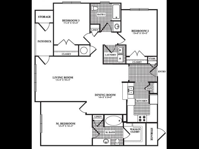 Floor Plan 7 | One Bedroom Apartments In Marietta GA | Bellingham Apartments
