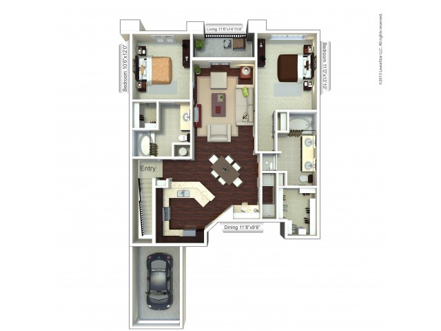 Floor Plan 3 | Apartments Houston | Valencia Place