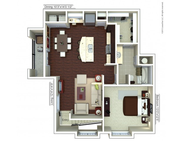 Floor Plan 12 | Houston TX Apartment | Valencia Place
