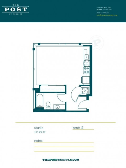 Floor Plan 7 | Apartments In Seattle | The Post