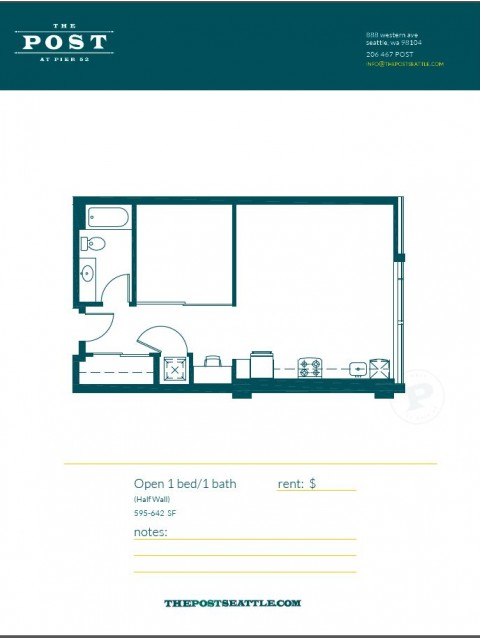 Floor Plan 9 | Luxury Apartments In Seattle Washington | The Post