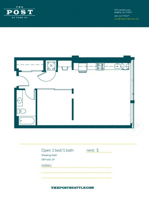 Floor Plan 10 | Apartment For Rent In Seattle WA | The Post