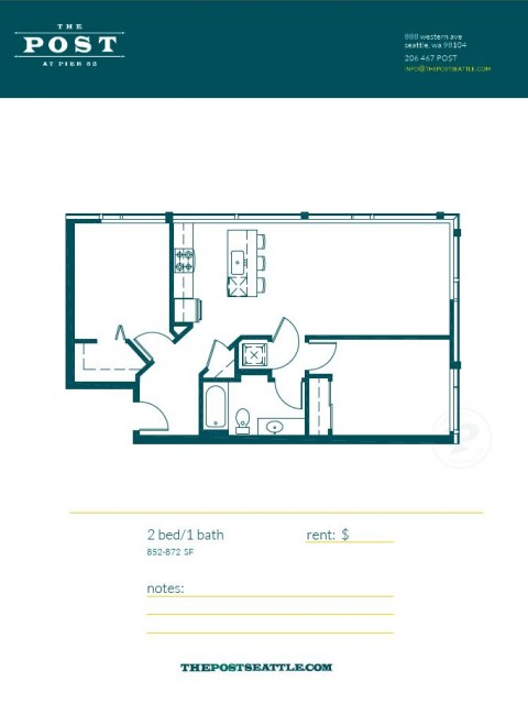 Floor Plan 14 | Luxury Apartments In Seattle Washington | The Post