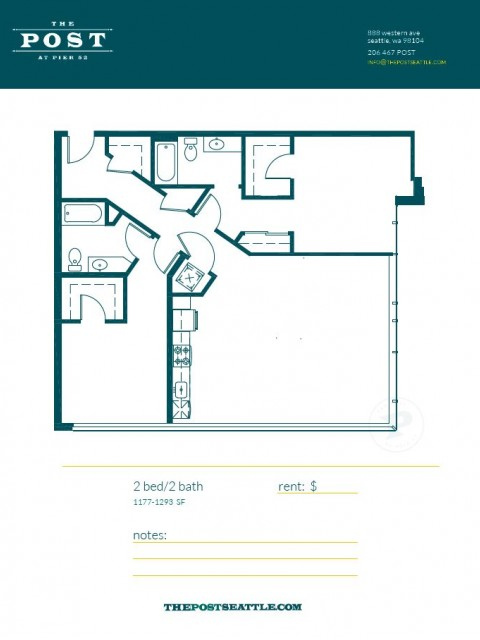 Floor Plan 15   Apartment For Rent In Seattle WA   The Post
