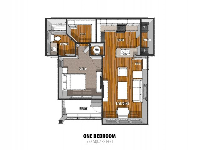 1 Bedroom Floor Plan | Apartments For Rent Laredo TX | La Contessa