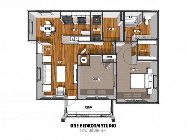 1 Bdrm Floor Plan | 2 Bedroom Apartments In Laredo TX | La Contessa