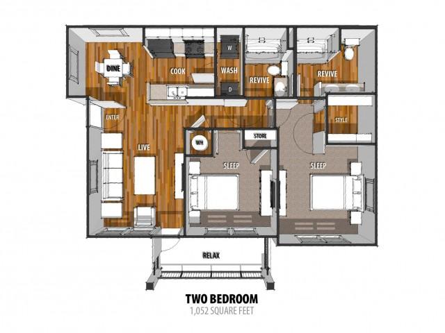 2 Bedroom Floor Plan | Laredo Apartment | La Contessa