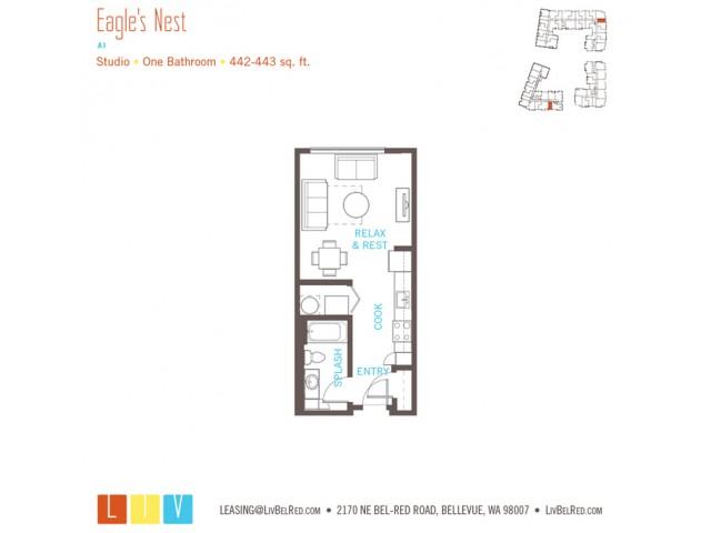 Studio Floor Plan | Bellevue WA Apartments | LIV