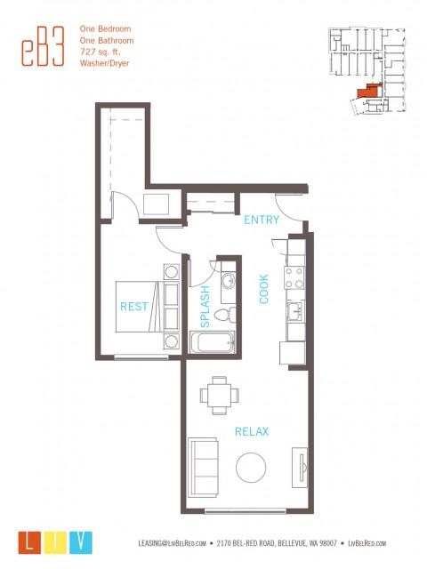 Floor Plan 15 | Bellevue Washington Apartments | LIV