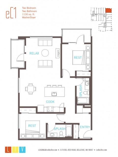 Floor Plan 51 | Bellevue WA Apartments | LIV