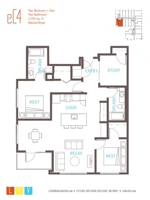 Floor Plan 54 | Bellevue WA Apartments | LIV