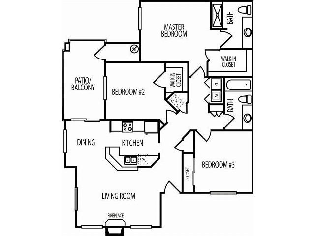 3 Bedroom Floor Plan | Chandler AZ Apartment Rentals | The Ventura