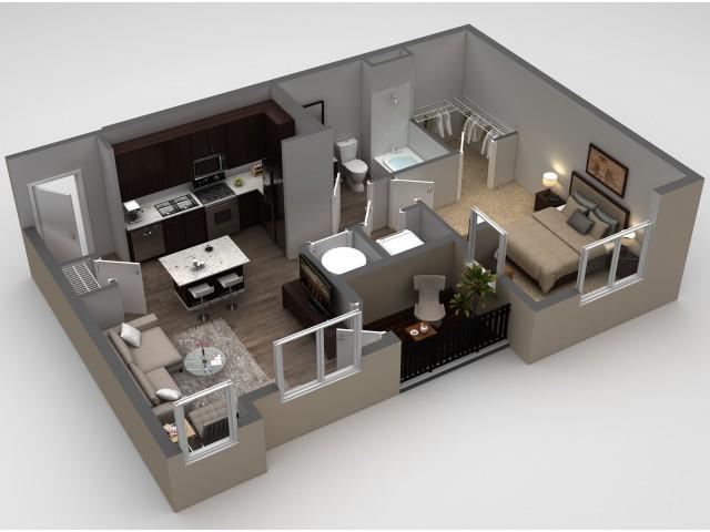 1 Bedroom Floor Plan | Apartments In Thornton | Parkhouse 4