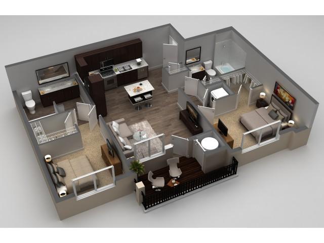 2 Bdrm Floor Plan | Apartments Thornton CO | Parkhouse