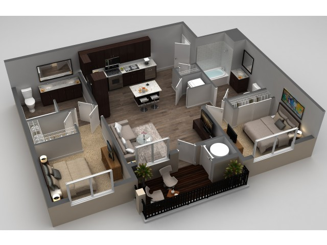 2 Bedroom Floor Plan | Thornton CO Apartments For Rent | Parkhouse 4