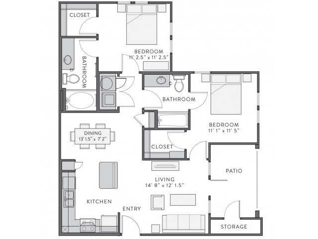 Floor Plan 3 | Lake Charles Apartments | Watervue