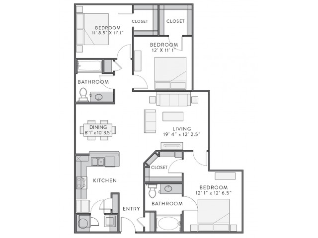 Floor Plan 5 | Apartments In Lake Charles | Watervue