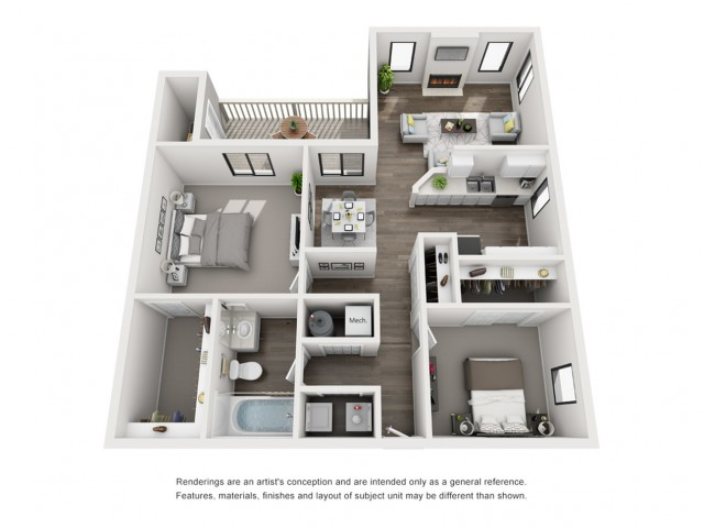 Floor Plan 3   Apartment For Rent Morrison Colorado   Vista at Trappers Glen