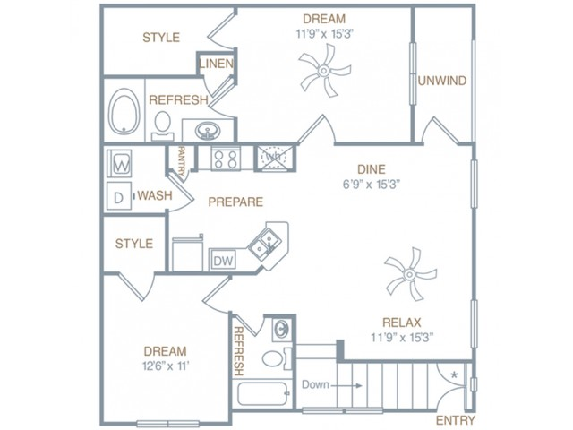 2 Bedroom Floor Plan | Prattville AL Luxury Apartments | Meadows at HomePlace