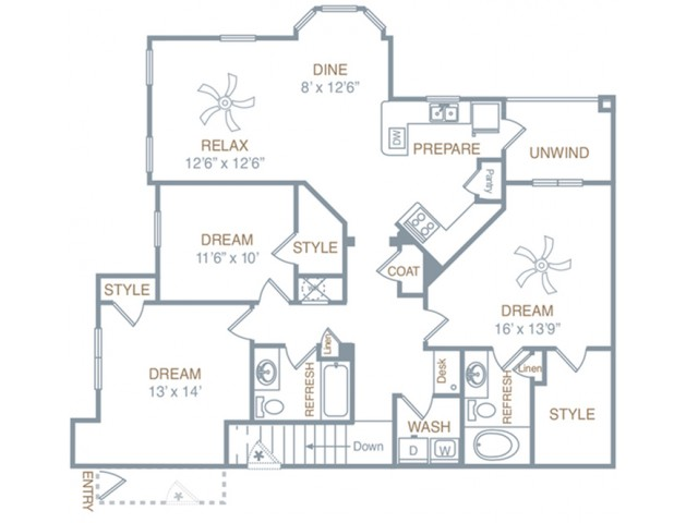 3 Bdrm Floor Plan | Luxury Apartments In Prattville Alabama | Meadows at HomePlace