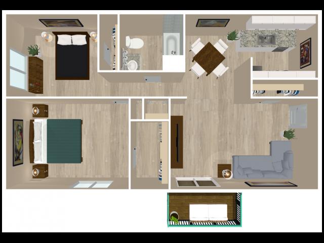 Floor Plan 3 | Apartments For Rent Plainsboro NJ | Hunter\'s Glen