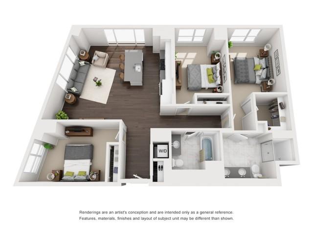 Penthouse - Three Bedroom - 1395 Sqft
