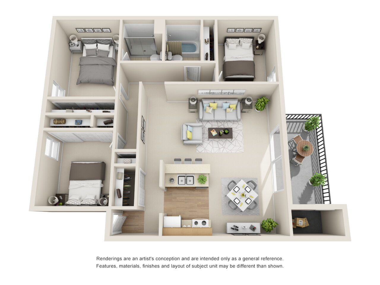 3 Bedroom Floor Plan   Park Place on 92nd