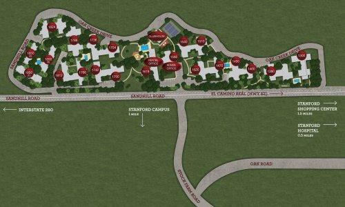Community site map of Oak Creek Apartmetns | Palo Alto, CA